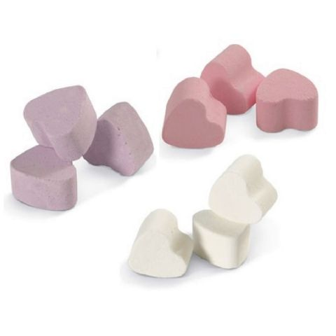 12 x Lavender, Rose, & Snowmusk Mini Bath Hearts Fizzers - Bath Bubble & Beyond 10g Each